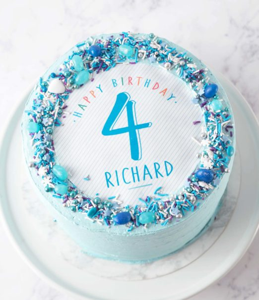 Excellent Kids Blue Party Cake The Velvet Cake Co Personalised Birthday Cards Sponlily Jamesorg