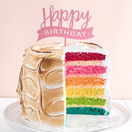 Swell Meringue Rainbow Cake With Free Birthday Topper The Velvet Cake Co Personalised Birthday Cards Arneslily Jamesorg